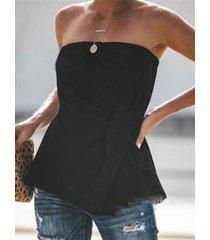 camisa sin mangas con dobladillo curvado para mujer diseño sin respaldo