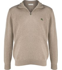 etro embroidered logo pull-over - neutrals