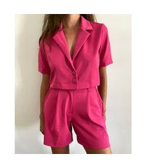 bermuda feminina mindset cintura alta alfaiataria com bolsos pink