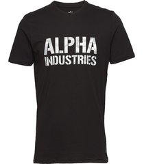 camo print t t-shirts short-sleeved svart alpha industries