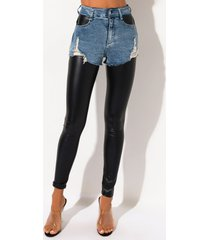 akira double trouble denim short with liquid legging pants