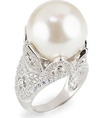 cz by kenneth jay lane women's silvertone, mother-of-pearl gumball & cubic zirconia tulip statement ring/size 7 - size 7