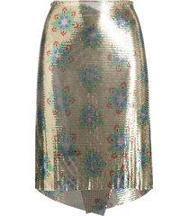paco rabanne wraparound embellished skirt - gold