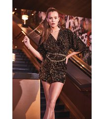 velvet sequin knot front shift dress, black