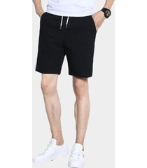 pantalones cortos de hombre de cintura con cordón liso de rayas laterales de estilo casual de algodón negro