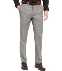 dkny men's slim-fit stretch light gray plaid suit pants