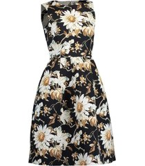 sleeveless full skirt print midi dress