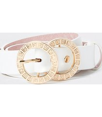 river island womens white ri double ring buckle belt