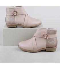 bota infantil molekinha cano curto com glitter rosa claro
