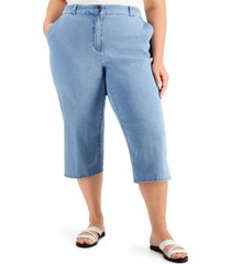 karen scott plus size button-hem denim capri pants, created for macy's