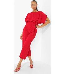 culotte jumpsuit met ceintuur en boothals, red