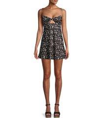 for love & lemons women's paisley-print mini dress - black - size m