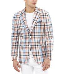 tallia men's slim-fit multicolor plaid linen blazer