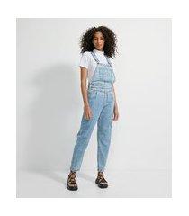 macacão jardineira longo jeans com recortes no cós e pregas | blue steel | azul | m