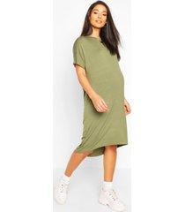 maternity dip hem oversized t-shirt dress, khaki