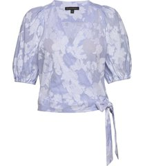 floral puff-sleeve cropped top blouses short-sleeved banana republic