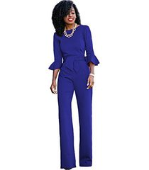 sheer formal jumpsuit with ruffle sleeves (2, blue)