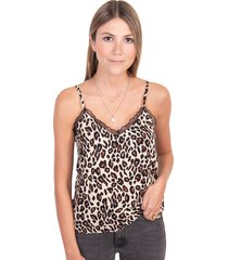 blusa estampada de leopardo con encaje flashy