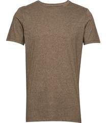 mouliné o-neck tee s/s t-shirts short-sleeved brun lindbergh