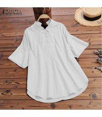 zanzea mujeres botones cuello camisa turn down cuello de solapa blusa suelta bowknot plus tops -blanco