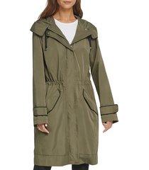 dkny women's mesh-lined rain parka - juniper - size s