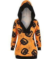 halloween cobweb pumpkin mock button plus size hoodie