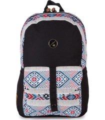 mochila casual para notebook hang loose astral em algodão e jacquard estampada multicolorido