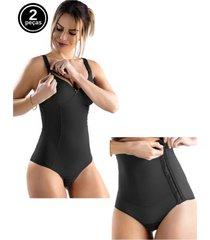 kit body amamentação e cinta pós parto tivesty preto