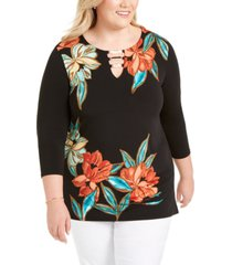 jm collection plus size hardware-trim tunic, created for macy's