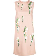carolina herrera floral embroidery leather dress - pink