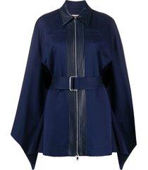 emilio pucci zipped belted cape - blue