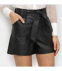 shorts hot pants il shin imitação couro feminino