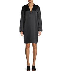 silk long sleeve shift dress
