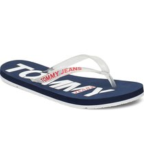 pop color beach sand shoes summer shoes flip flops blå tommy hilfiger