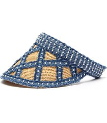 pearl embellished denim straw visor