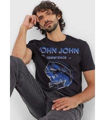 camiseta john john casual preta