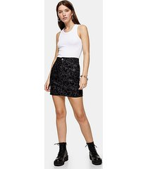 black snake print mini skirt - black