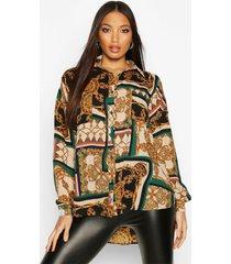 chain print oversized shirt, green