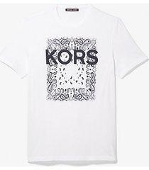 mk t-shirt in cotone con stampa bandana - bianco (bianco) - michael kors