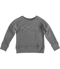 replay grijze sweater met strass studs logo