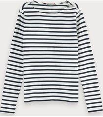 scotch & soda bretons t-shirt met lange mouwen en ritsdetail