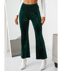 pantalones acampanados con cinturilla elástica de terciopelo yoins