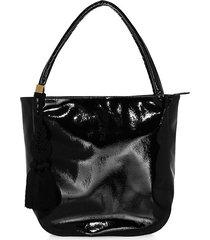 bria faux leather tassel tote