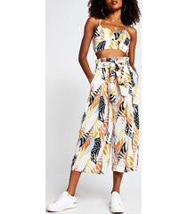 river island womens orange abstract print tie culotte trousers