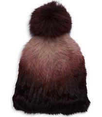 fox fur pom-pom & ombre rabbit fur hat