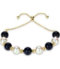 cultured freshwater pearl (8mm) & onyx (8mm) beaded bolo bracelet in 14k gold