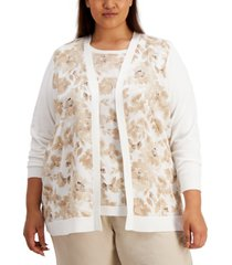 calvin klein plus size printed open-front cardigan sweater