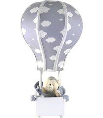 abajur balã£ozinho cintura urso nuvem cinza quarto beb㪠infantil menino menina - cinza - dafiti