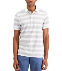 calvin klein men's liquid touch gradient stripe pima cotton polo shirt