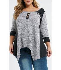 plus size contrast trim criss cross space dye t-shirt